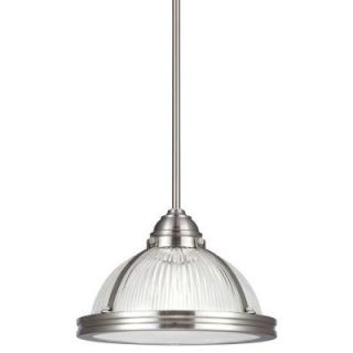 Sea Gull Lighting Pratt Street Prismatic 1 Light Brushed Nickel Fluorescent Pendant with Prismatic Glass and Diffuser 65060BLE 962