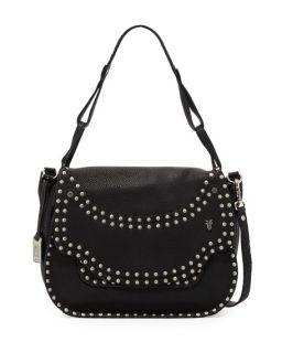 Frye Nikki Nailhead Flap Crossbody Bag, Black