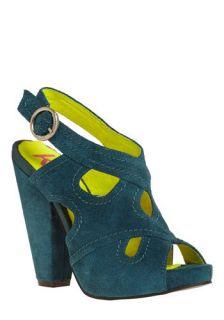 Kid Sister Heel in Teal  Mod Retro Vintage Heels