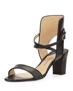 Paul Andrew Leather Crisscross Ankle Cuff Sandal, Black