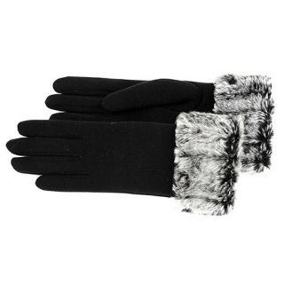 Isotoner Black fur cuff thermal gloves