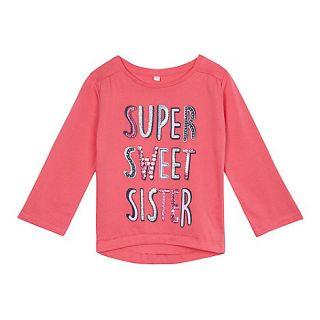 bluezoo Girls pink long sleeved sister t shirt