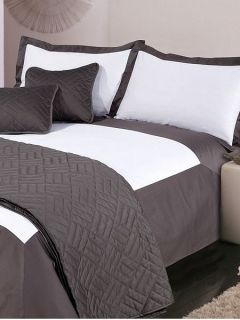 Luxury Hotel Collection Oxford single duvet cover set white & grey
