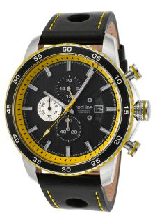Speed Rush Chrono Black Genuine Leather and Dial Yellow Stitching