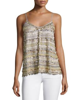 Calypso St. Barth Dinaria Cashmere Jacket W/Contrast Stitching, Oatmeal