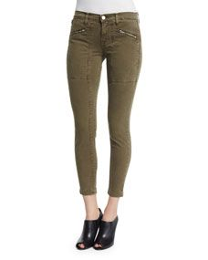 J Brand Jeans Genesis Mid Rise Utility Cropped Pants, Distressed Troope