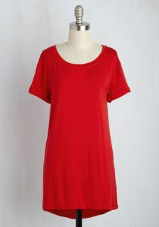 Simplicity on a Saturday Tunic in Red  Mod Retro Vintage Short Sleeve Shirts