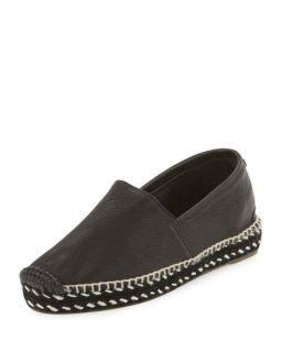 Rag & Bone Noa Handmade Leather Espadrille Flat, Black
