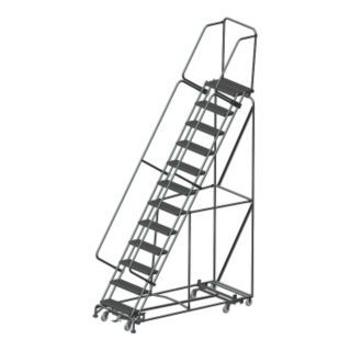"BALLYMORE 12 Step Rolling Ladder, Serrated Step Tread, 153"" Overall Height, 450 lb. Load Capacity   Rolling Ladders   9ARK1