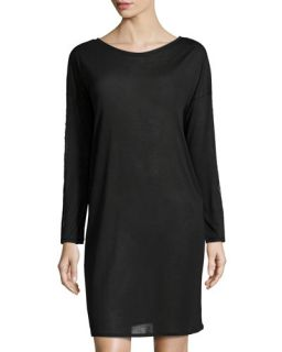 Hanro Chloe Lace Trim Long Sleeve Gown, Black
