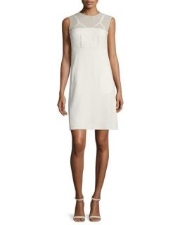 CoSTUME NATIONAL Sleeveless Sheer Yoke Dress, Cream