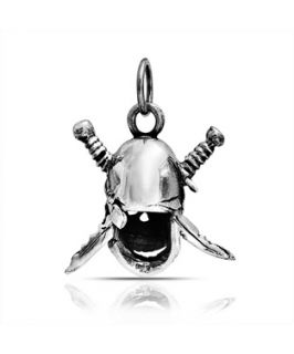 Bling Jewelry Bling Jewelry Pirate Skull Sword Crossbone Pendant 925 Sterling Silver (365199401)
