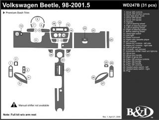 1998 2001 Volkswagen Beetle Wood Dash Kits   B&I WD247B DCF   B&I Dash Kits