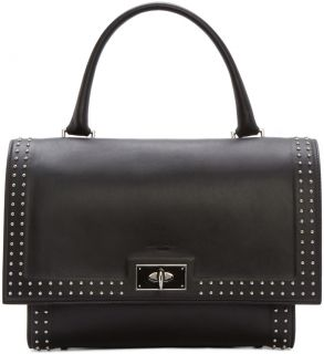 Givenchy: Black Leather Small Shark Duffle Bag