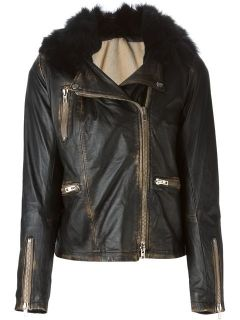 Sword Fur Trimmed Biker Jacket