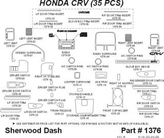 2002, 2003, 2004 Honda CR V Wood Dash Kits   Sherwood Innovations 1376 N50   Sherwood Innovations Dash Kits