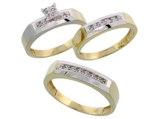 10k Yellow Gold Diamond Trio Engagement Wedding Ring 3 piece Set for Him and Her 5 mm & 4.5 mm, 0.14 cttw Brilliant Cut, ladies sizes 5 û 10, mens sizes 8   14