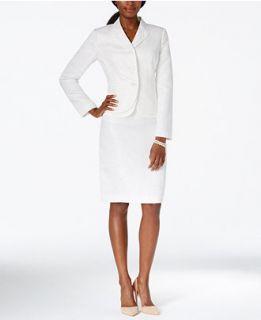 Kasper Jacquard Double Hem Jacket Skirt Suit   Wear to Work   Women