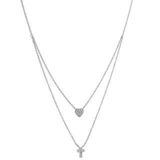 Fremada Sterling Silver Cubic Zirconia Heart and Cross Charm Layered