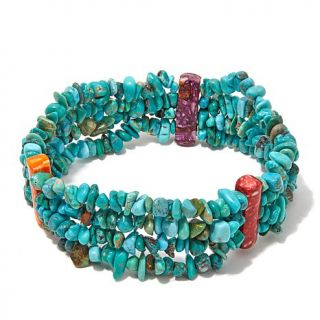 Jay King Spiny Oyster Shell and Iron Mountain Turquoise Sterling Silver Stretch   8041462