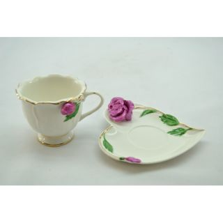Three Star Im/Ex Inc. 2 Piece Rose Cup and Saucer Set