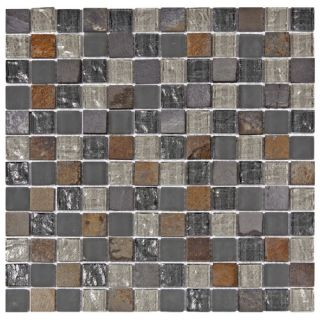 Sierra 0.875 x 0.875 Glass and Natural Stone Mosaic Tile in Wisp by