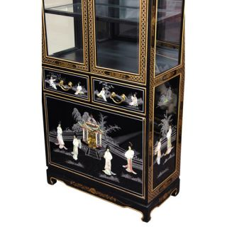Oriental Furniture Mother of Pearl   Ladies Tall Curio Cabinet