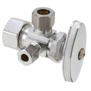 BrassCraft 1/2 in. Nom Comp Inlet x 3/8 in. O.D. Comp x 1/4 in. O.D. Comp Dual Outlet Dual Shut Off Multi Turn Angle Valve CR1900DVX C