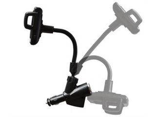 Dual USB Charger +Car Cigarette Lighter Socket +Mount Holder For Cell Phone GPS black