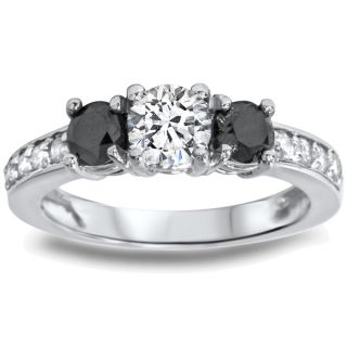 14k White Gold 1ct TDW Black/ White Diamond 3 stone Ring (G H, I1 I2)