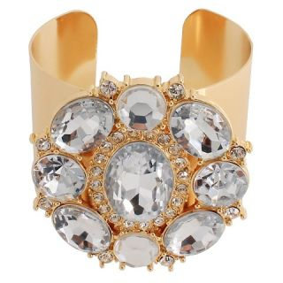 Cuff Bracelet with Stones   Gold (2.5 ID)