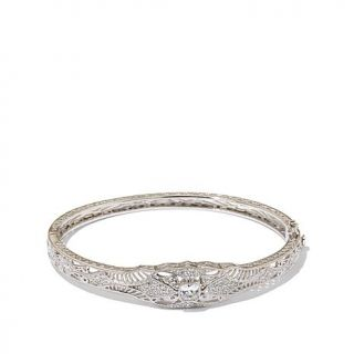 Xavier 1.46ctw Absolute™ Radiant Wirework Hinged Sterling Silver Bangle B   7732381
