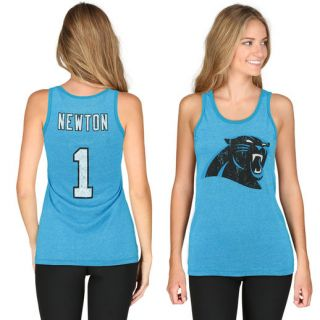 Majestic Threads Cam Newton Carolina Panthers Womens Panther Blue Primary Logo Name & Number Tank Top