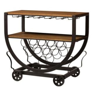Baxton Studio Triesta 32 in. W Antiqued Vintage Industrial Metal and Wood Wheeled 10 Bottle Wine Rack Cart in Brown YLX 9043