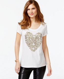 INC International Concepts Sequined Heart Print T Shirt, Only at