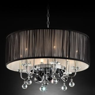 OK Lighting Crystal Rose 6 Light Drum Pendant