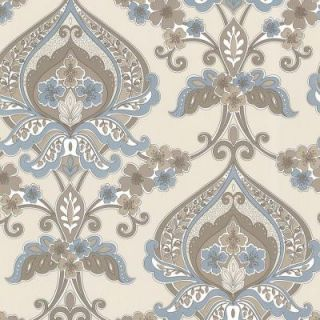 Beacon House 56 sq. ft. Ashbury Aqua Paisley Damask Wallpaper 450 67368
