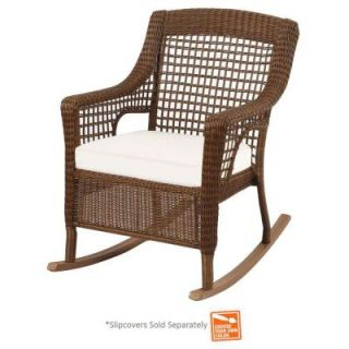Hampton Bay Spring Haven Brown Wicker Patio Rocking Chair with Cushion Insert (Slipcovers Sold Separately) 56 20312
