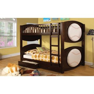 Kemi Twin Over Twin Bunk Bed with Baseball Design   16251731