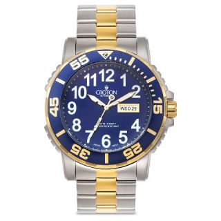 Croton Mens Stainless Steel Wristwatch   Multi Colored