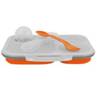 SmartPlanet 48 oz. Collapsible 3 Compartment Large ECO Lunch Box in Orange EC 34LO