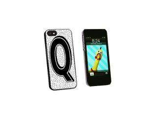 Letter Q Initial Sprinkles Black White   Snap On Hard Protective Case for Apple iPhone 5   Black