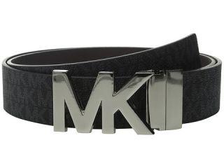 MICHAEL Michael Kors 38mm Reversible Logo PVC to Saffiano on MK Plaque Buckle Belt Black/Brown