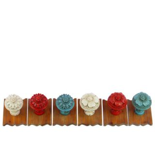 Resin/Wood Wall Hooks Assortment of Six Assorted Color (White x2, Red