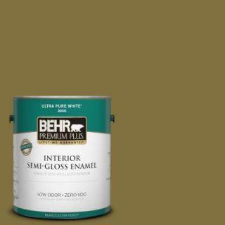 BEHR Premium Plus 1 gal. #S H 390 Italian Olive Zero VOC Semi Gloss Enamel Interior Paint 330001
