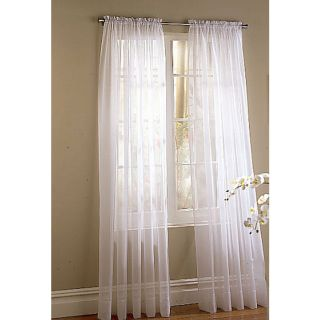 Style Selections High Twist Voile 84 in White Polyester Rod Pocket Light Filtering Sheer Single Curtain Panel