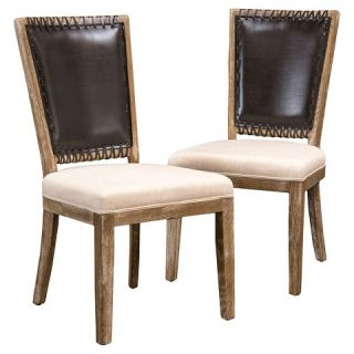 Westfield Dining Chair Wood/Brown/Beige Linen (Set of 2)   Christopher