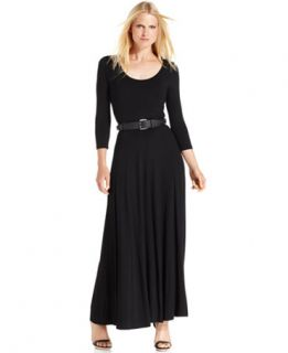 Calvin Klein Dress, Three Quarter Sleeve Belted Maxi