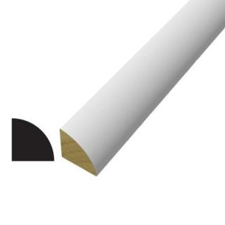 Alexandria Moulding WM 105 3/4 in. x 3/4 in. x 96 in. Poplar Wood Painted White Finger Jointed Quarter Round Moulding 0W105 F7096C