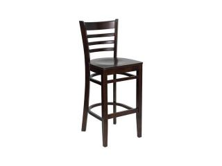 Flash Furniture HERCULES Series Walnut Finished Ladder Back Wooden Restaurant Bar Stool [XU DGW0005BARLAD WAL GG]